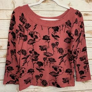 Evie Cropped Scoop Neck Soft Sweater Roses M